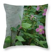 Wild Roses With Birch Tree Throw Pillow
