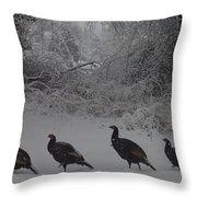 Wild Turkey Winter Throw Pillow