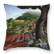 Wild Turkeys In The Hills Country Landscape - Square Format Throw Pillow