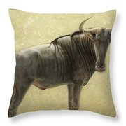 Wildebeest Throw Pillow by James W Johnson