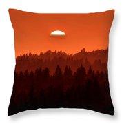 Wildfire Smoke Sunset 2 Throw Pillow