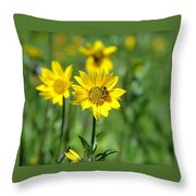 Wildflower Bee Throw Pillow