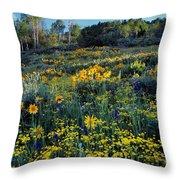 Wildflower Hillside Throw Pillow