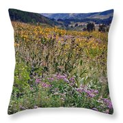 Wildflowers And Mountains  Throw Pillow