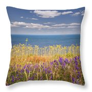 Wildflowers And Ocean Throw Pillow