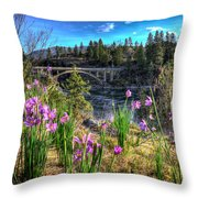 Wildflowers And Old Bridge Throw Pillow