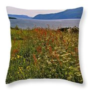 Wildflowers At Lobster Cove Head In Gros Morne Np-nl Throw Pillow