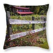 Wildflowers At The Fence Throw Pillow