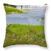 Wildflowers By Heron Pond In Grand Teton National Park-wyoming Throw Pillow