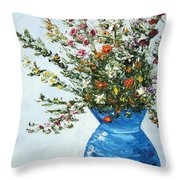 Wildflowers In A Blue Vase Throw Pillow