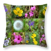 Wildflowers Mosaic Throw Pillow
