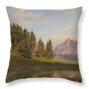 Wildflowers Mountains River Western Original Western Landscape Oil Painting Throw Pillow