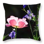 Wildflowers On Black Throw Pillow