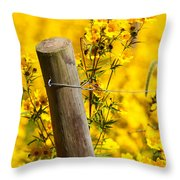 Wildflowers On Fence Post Throw Pillow
