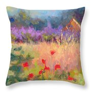Wildrain Retreat - Lavender And Poppies Throw Pillow