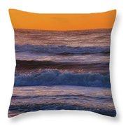 Wildwood Beach Golden Sky Throw Pillow