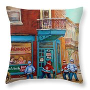 Wilensky Montreal-fairmount And Clark-montreal City Scene Painting Throw Pillow