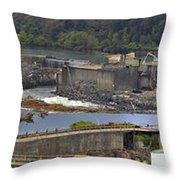 Willamette Falls Dam In Oregon City Panorama 3 Throw Pillow
