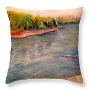 Willamette River Reflections - Morning Light Throw Pillow