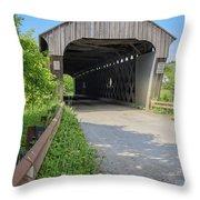 Willard Covered Bridge North Hartland Vermont Throw Pillow