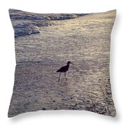 Willet In The Waves Throw Pillow