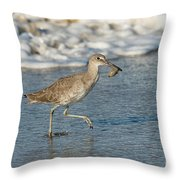 Willet With Sand Crab Throw Pillow