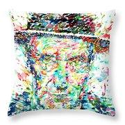 William Burroughs Watercolor Portrait Throw Pillow