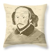 William Shakespeare Typography Portrait  Throw Pillow