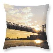 Williamsburg Bridge - Sunset - New York City Throw Pillow