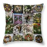 Williamsburg Christmas Collage Squared 2 Throw Pillow