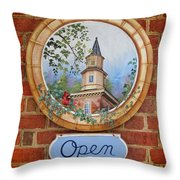 Williamsburg Shop Sign Throw Pillow
