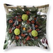 Williamsburg Wreath Squared Throw Pillow