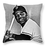 Willie Mays Painting Throw Pillow