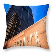 Willis-sears Tower Skydeck Sign Throw Pillow by Paul Velgos