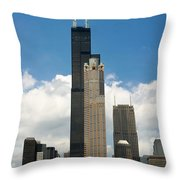 Willis Tower Aka Sears Tower Throw Pillow by Adam Romanowicz