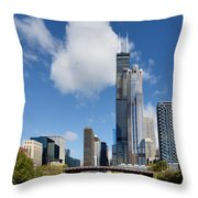 Willis Tower And 311 South Wacker Drive Chicago Throw Pillow by Christine Till