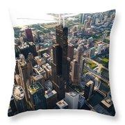 Willis Tower Chicago Aloft Throw Pillow by Steve Gadomski