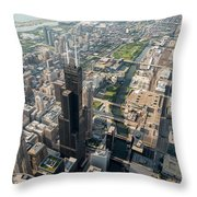 Willis Tower Southwest Chicago Aloft Throw Pillow