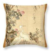 Willow And Herons Throw Pillow