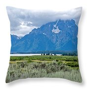 Willow Flats Overlook In Grand Teton National Park-wyoming   Throw Pillow