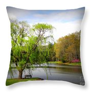 Willow Lake Throw Pillow by Crystal Joy Photography