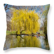 Willow Tree Water Reflection Throw Pillow by Matthias Hauser