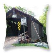 Willowemoc Covered Bridge Throw Pillow