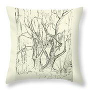 Willows By The Lake Throw Pillow