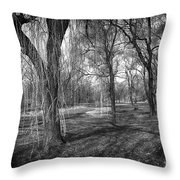 Willows In Spring Park Throw Pillow