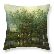 Willows With A Man Fishing Throw Pillow