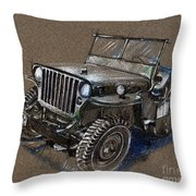 Willys Car Drawing Throw Pillow
