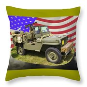 Willys World War Two Army Jeep And American Flag Throw Pillow
