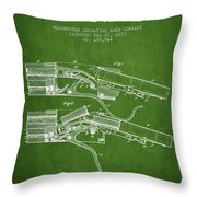Winchester Firearm Patent Drawing From 1877 - Green Throw Pillow