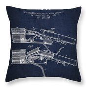 Winchester Firearm Patent Drawing From 1877 - Navy Blue Throw Pillow
